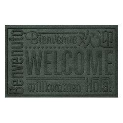 Bungalow Flooring - Aqua Shield 2'x3' Worldwide Welcome Doormat, Evergreen - Premium 24-oz. anti-static polypropylene mat traps dirt, water and mud.