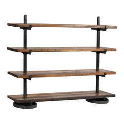Industrial Steel Rack with Wood Shelf, Medium Wood - With a tough and rugged look, this industrial steel rack with wood shelves creates a robust masculine sense in the home. Ideal in an urban loft or industrial condo, this rack features rounded steel bases that support steel pillars that extend upward and include brackets to support the four wood shelves. The distressed, worked look of the nearly black metal enhances the rustic wood shelves, which are finished in tones of rich brown. Create an artistic display space or show off your favorite books and trinkets in this weathered steel rack with wood shelves.