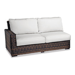 Thos. Baker - Outdoor Wicker Sectional Corner Set | Hampton Java Collection, Dupione Sand, Dye - Our most popular over-sized wicker collection is now available in a rich java color weave. Premium, dyed-through resin wicker with an extra large diameter profile and a rich variegated rustic finish. Powder-coated aluminum sub-frame and brushed aluminum feet.Plush Sunbrella cushion sets included where applicable. Choose quick ship in khaki with cocoa piping, stone green or choose from our made-to-order fabric options.