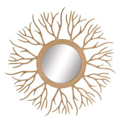 "Benzara - The Real Cool Metal Sunburst Mirror - Are you searching for a mirror that has the power of the sun? Looking for a mirror that will captivate ones imagination and make one a fan of it instantly? Well, with this metal sunburst mirror all that is really possible. With what is a body that has twigs or leafless branches emanating from the mirror's frameG��this mirror looks like a miniature Sun. But it is no less powerful: it has the power to give a perfect reflection whilst adding to the ambience, thus brightening it. Additionally, it has been made using quality materials; this ensures that it will last with you for ages. A perfect gifting item tooG��you may gift it to both sexes. Indeed, this mirror does not distinguish: it will be equally fancied by men and women alike. So do not delay. This is a real cool mirror to own. Metal sunburst mirror dimensions: 44 inches (W) x 0.5 inches (D) x 44 inches (H); Metal sunburst mirror color: Brown; Made from: Metal, mirror; Dimensions: 19""L x 19""W x 30""H"