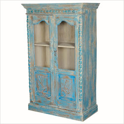 - Blue Sunrise Reclaimed Wood Hand Carved Armoire Display Cabinet ...