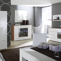 """""""Contro"""" Sideboard, Highboard, Vitrine and Shelf. In Stock! - Contro line is Made in Italy by LC Mobili. All pieces are available in stock in White (as shown) or Black front. Starting price $619.00 is for the Highboard."""
