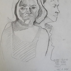 """""""Untitled (sketchbook page)"""" Artwork - This is an early sketchbook page. There are two women depicted in the drawing. The same year I completed an oil portrait of the woman facing forward (Portrait of Morgan, oil and crayon on canvas, 1999). To the bottom right is some poetry."""