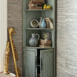 Maldives Corner Cabinet - With its versatile smaller footprint, the Maldives Corner Cabinet offers excellent storage and display for a multitude of locations. Three open shelves are ideal for showcasing your favorite collections; behind the wainscoted doors below is a single removable storage shelf. Crafted of poplar and hand-painted in a traditional pale green-hued blue with an authentic distressed finish.