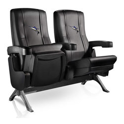 Dreamseat Inc. - Marlin Row One VIP Theater Seat - Double - Check out these fantastic home theater chairs. These are the same seats that are in the owner's VIP luxury boxes at the big stadiums. It has a rocker back and padded seat, so it's unbelievably comfortable - once you're in it, you won't want to get up. Features a zip-in-zip-out logo panel embroidered with 70,000 stitches. Converts from a solid color to custom-logo furniture in seconds - perfect for a shared or multi-purpose room. Root for several teams? Simply swap the panels out when the seasons change. This is a true statement piece that is perfect for your Man Cave, Game Room, basement or garage.