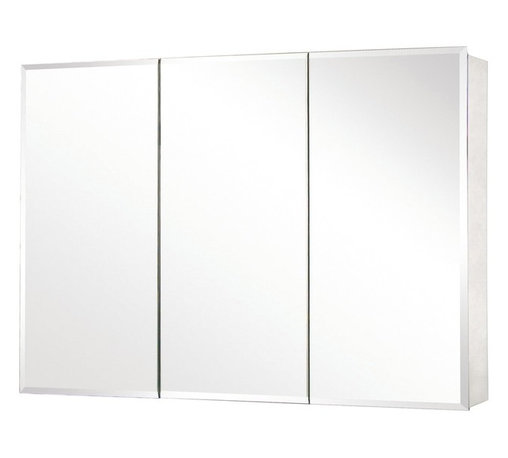 Pegasus - Tri-View Beveled Mirror Medicine Cabinet - SP - Manufacturer SKU: SP4588. Includes side mirror and hanging kit. Adjustable glass shelves. Rust-free aluminum case. Self-closing hinges open upto 110 degree. Recess or surface mount. 48 in. W x 5 in. D x 26 in. H (73 lbs.)