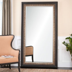 "Uttermost - Uttermost Clermont Large Dark Bronze Floor Mirror X-84241 - This stately mirror features a distressed dark bronze frame accented with a heavily antiqued, golden champagne inner frame with a taupe gray wash. Mirror has a generous 1 1/4"" bevel. May be hung horizontal or vertical."