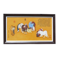 """Golden Lotus - Chinese Porcelain Eight Horses Painting Wall Decor - This is a nicely made porcelain painting of a famous art piece of """" Lang Shih Ning"""" """" Eight Horses """" Portrait. It is a good combination of drawing skill and the porcelain making technique, showing a real natural expression and color of the painting. The porcelain is from the famous porcelain town in China, Jingdezhen."""