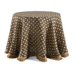 Grandin Road - Geometric Burlap Round Tablecloth - Halloween tablecloth in black and earth tones. Woven from 100% burlap. Spot clean. Versatile tablecloth design may be used year round. Create an appropriately spooky – yet still stylish – look for your ghoulish buffet with our Geometric Burlap Tablecloth. Refreshing your table linens is an easy, affordable way to scare up compliments without breaking your Halloween budget. The black and burlap tablecloth, with a fringed edge, serves as the ideal backdrop.  .  .  .  . Imported.
