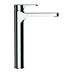 Remer - Tall 7 Inch Bathroom Faucet In Chrome Finish - This European manufactured mixer was made in Italy by Remer. It is comes with a tall10 inch neck and 7 inch spout reach. This single lever, modern style mixer comes in a shiny chrome finish and mounts easily to your deck/bathroom surface. 7 Inch Mixer. Deck mount basin faucet. Made from chrome-finished brass. Made in Italy by Remer.