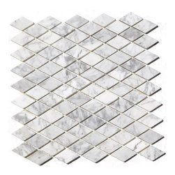 """Premier Worldwide - Arabescato Carrara Rhomboid 12X12 Marble Mosaic Polished - Arabescato Carrara 1"""" Rhomboid interlocking Pattern polished mosaic tiles are backed by mesh and feature the whites and grays of class Cararra with stunning black accents. Projects recommended for these beautiful tiles include flooring and walls.   Also known as Grecian White, Chinese White, Statuary White"""