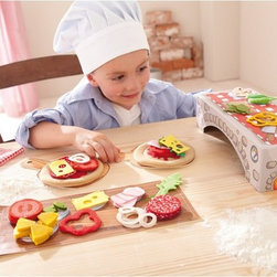 Haba - Haba Biofino Pizzeria Allegro Multicolor - 7301 - Shop for Cooking and Housekeeping from Hayneedle.com! Pretend play has come a long way from those plastic kitchens where you just had a pot and pan so let your little one enjoy the action of a brick-oven pizza with the Haba Biofino Pizzeria Allegro. This set includes a cardboard over a pair of oven shovels and two pizzas with plenty of toppings so they can make their favorite pie. A deck of cards and game instructions are also included adding to the imaginative play. The pizzas and toppings are made from a cotton/poly felt that's durable and machine-washable.About HABAIn 1938 HABA began manufacturing finely polished wooden toys in Germany. Today these blocks and toys are still an important part of the HABA product line but the company has expanded to produce a wider variety of inventive playthings for inquisitive minds. From games and jewelry to tableware and rugs HABA products are known for innovative design and attention to detail. HABA toys support children's development and foster the spirit of discovery. HABA products undergo rigorous testing under European guidelines. They've won numerous Children's Game of the Year awards and look to continue their legacy of innovative exciting design for kids around the globe.