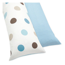Sweet Jojo Designs - Blue and Brown Mod Dots Full Length Double Zippered Body Pillow Case Cover - Designed to match Sweet JoJo Designs bedding sets,this full-length body pillow cover adds a fun accent to your bedroom. This reversible cover features large blue and brown dots on one side and mini white dots on the other for flexible styling.