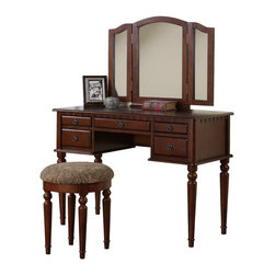 Adarn Inc. - Tri Folding Mirror Make Up Table Vanity Set Wood w/ Stool 5 Drawers, Cherry - Introducing this beautiful brand new transitional style vanity table set. Featuring solid wood and veneer construction and comes in White/ Walnut/ Cherry/ Black finish. This vanity has five drawers with antiqued bronze accents for storage and to keep your surface-top clutter free. A tri-folding mirror is the focal point of this vanity and can be adjusted to be able to view your face and hair from all angles. Traditionally styled table legs and clean lines give this table a transitional contemporary vibe. Comes with a matching seat bench with a cushioned seat upholstered in patterned fabric.