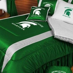Sports Coverage - Michigan State Spartans NCAA Bedding - Sidelines Comforter and Sheet Set Combo - This is a great Michigan State Spartans NCAA Bedding Comforter and Sheet set combination! Buy this Microfiber Sheet set with the Comforter and save off our already discounted prices. Show your team spirit with this great looking officially licensed Comforter which comes in new design with sidelines. This comforter is made from 100% Polyester Jersey Mesh - just like what the players wear. The fill is 100% Polyester batting for warmth and comfort. Authentic team colors and logo screen printed in the center. Microfiber Sheet Set have an ultra-fine peach weave that is softer and more comfortable than cotton! This Micro Fiber Sheet Set includes one flat sheet, one fitted sheet and a pillow case. Its brushed silk-like embrace provides good insulation and warmth, yet is breathable. It is wrinkle-resistant, stain-resistant, washes beautifully, and dries quickly. The pillowcase only has a white-on-white print and the officially licensed team name and logo printed in team colors. Made from 92 gsm microfiber for extra stability and soothing texture. Sheet Sets are plain white in color with no team logo.   Includes:  -  Flat Sheet - Twin 66 x 96, Full 81 x 96, Queen 90 x 102.,    - Fitted Sheet - Twin 39 x 75, Full 54 x 75, Queen 60 X 80,    -  Pillow case Standard - 21 x 30,    - Comforter - Twin 66 x 86, Full/Queen 86 x 86,