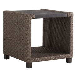 Lexington - Tommy Bahama Blue Olive Square End Table - The distinctive herringbone weave of all-weather wicker is a sophisticated slate gray finish complemented by the custom Weatherstone top which replicates the texture and appearance of natural slate. The lower shelf provides valuable display or staging area creating a highly functional end table.