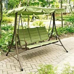 Coral Coast Dublin Green 3-Person Padded Sling Canopy Swing - With its fresh green color and comfy design, the Coral Coast Dublin Green 3-Person Padded Sling Canopy Swing is just what your outdoor living space needs. This swing has a padded, generous seat that fits three comfortably. It's topped with a matching canopy to shield you from the sun in style. This swing and canopy combo is the perfect way to enjoy the afternoon without getting over heated. It comes complete with a durable aluminum swing and polyester shade in Dublin green. The polyester material of the shade resists fading and the elements and is designed to last through the seasons. This set comes complete with hanging hooks and chain for easy installation.About Coral Coast What if, when you closed your eyes, you pictured yourself in your own backyard? Coral Coast has a collection of easygoing, affordable outdoor accessories for your patio, pool, or backyard. The latest colors and styles mingle with true classics in weather-worthy fabrics and finished woods, ready for relaxation. Make yours a life of leisure.