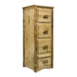 "Montana Woodworks - Montana Woodworks 4-Drawers File Cabinet in Glacier Country - This ruggedly beautiful four drawer file cabinet nicely compliments the matching Montana Woodworks desks, sold separately. Increase the attractiveness of filing chores while adding rustic style and distinction to your home or office. This unit may also be used as a deep drawer, four drawer dresser. Handcrafted with solid, American grown wood, with lodgepole pine accents, this file cabinet features full extension, ball bearing slides on each of the letter sized file drawers. Finished in the ""Glacier Country"" collection style for a truly unique, one-of-a-kind look reminiscent of the Grand Lodges of the Rockies, circa 1900. First we remove the outer bark while leaving the inner, cambium layer intact for texture and contrast. Then the finish is completed in an eight step, professional spraying process that applies stain and lacquer for a beautiful, long lasting finish. Comes fully assembled. 20-year limited warranty included at no additional charge."
