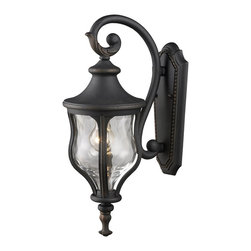 Elk Lighting - Elk Lighting Grand Aisle Traditional Outdoor Wall Sconce X-1/05224 - This Elk Lighting Grand Aisle Traditional Outdoor Wall Sconce was designed to look like large, European gas lanterns. Notice the frame in a weathered charcoal finish with a prominent scroll that supports a shapely, water glass shade. It's a magnificent, one-light piece that will effortlessly add a touch of elegance to your home's exterior.