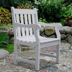 Grandin Road - Bradley Straight-back Outdoor Armchair - Handcrafted from hardwood acacia, grown in 100% well-managed forests. Classic painted white finish. Comfortably contoured arms. Mold, mildew, fungus, insect, rot, and decay resistant. Light assembly required. The possibilities are endless with our Bradley Straight Back Arm Chair. Create a relaxing setting in your garden, arrange a group of these comfortable chairs around your outdoor dining table, or set them on your porch—wherever you choose to place them, you'll be ready to sit back, relax, and enjoy the splendor of the season.  .  .  .  .  . One year manufacturer's warranty .
