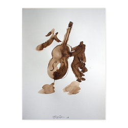 Double Bass With Angel, Original, Drawing - I like drawing bass players. The double bass is such a feminine shape- it's like drawing 2 figures  I did this series on some lovely different papers...