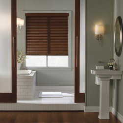 "Levolor 2"" Visions Faux Wood Blinds - Levolor 2"" Visions Faux Wood Blinds brighten up your home with the appearance of real wood at a much lower price. These affordable Levolor faux wood blinds are moisture resistant and won't warp or crack. They are available in premium stains and sandblasted colors. Great features like the Levolor LightMaster and cloth tapes can be added for increased privacy and style."