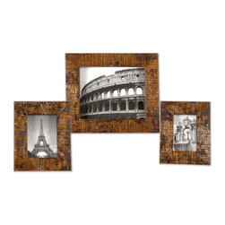 Uttermost - Hema Gold Photo Frames Set of 3 - Stamped mango wood with silver leaf and gold leaf finish