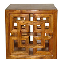 Lacquered Elm Wood Panel Cube - Lacquered elm cube table with lattice design on two sides would work as a coffee table or as an end table next to a chair.