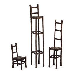 iMax - iMax Chair Sculpture Set X-3-92006 - Stylized cast iron set of three chairs with character in graduated sizes.