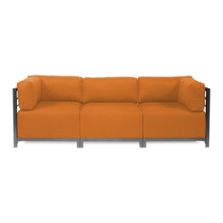 Howard Elliott - Sterling Canyon Axis 3-Piece Sectional - Titanium Frame - A fashionable trio! Lounge in style on a sterling axis 3 piece sectional will intoxicate your room with its uplifting style. Float the sterling axis 3 piece sectional in your room for an intimate seating arrangement. Expand your sectional with additional chair, corner or ottoman pieces. The steel frame is available in 2 finishes allowing you to choose a frame to best compliment your color. This piece features boxed cushions with velcro attachments to keep the cushions from slipping and looking their best all of the time. Your sterling axis 3 piece sectional will definitely turn heads with its sophisticated linen-like texture and vibrant color selection