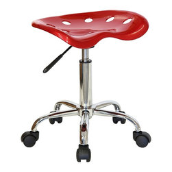 "Flash Furniture - Chrome Base Stool w Molded Seat - Perfect for the shop, craft room, kids' room, or anywhere you need an extra seat, this unique tractor seat stool is fun and functional.  From the tough molded polymer base to the dual wheel casters, this impressive stool is built to last.  An easy-touch pneumatic gas lift easily raises and lowers the seat a full five inches, so everyone can find his or her perfect fit.  It's fabulous in the bright red finish shown, or choose one of the other delightful colors. Vibrant Wine and Chrome stool. Extremely unique and comfortable molded ""Tractor"" seat. 5.5 in. Height range adjustment. Pneumatic gas lift. High density polymer construction on tractor seat. Chrome base. Dual wheel carpet casters. Seat: 17 in. W x 15 in. D. Seat Height: 20 1/4 in. - 25 3/4 in. H. Overall: 17 in. W x 15 in. D x 20 1/4 in. - 25 3/4 in. H (11 lbs.)"