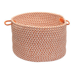 "Colonial Mills, Inc. - Outdoor Houndstooth Tweed, Orange Utility Basket, 18""X12"" - Durable, versatile and adorable all at once, this handled basket will help you hold, hide and haul just about everything indoors or out. The braided polypropylene is stain and fade resistant in a fun orange and white houndstooth pattern for long-lasting beauty."