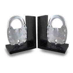 Zeckos - Pair of Polished Cast Aluminum Padlock Bookends - This set of decorative padlock bookends adds a wonderful industrial accent to your bookshelf or table. Made of polished cast aluminum, each padlock is mounted atop a black wood base measuring 5 inches (13 cm) long, 7 inches (18 cm) high, and 3 7/8 inches (10 cm) wide. These bookends are a wonderful addition to shelves, bookcases, or tables in your home, or at the office. They make a great gift.