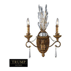 Elk Lighting - Elk Lighting Senecal Traditional Wall Sconce X-2/00011 - This Trump Home Senecal Traditional Wall Sconce is a dramatic and eye-catching piece. It features graceful ironwork in a stunning, Spanish bronze finish with impressive, crystal spheres and Egyptian crystals. It's an impeccably designed, two-light fixture that will easily add a touch of elegance to any room.