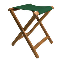 Teakworks4u - Teak Framed Folding Camp Stool with Dark Green Canvas Seat - Add a folding camp stool to your home, cabin, camper, boat, deck, patio ... anywhere you need a little extra seating. These stools are great for tailgating!