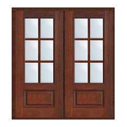 """Prehung French Double Door 80 Fiberglass 3/4 Lite 6 Lite SDL Glass - SKU#MCR08-SDL6_DF34D62BrandGlassCraftDoor TypeFrenchManufacturer Collection6 Lite French DoorsDoor Model6 LiteDoor MaterialFiberglassWoodgrainVeneerPrice3370Door Size Options2(32"""")[5'-4""""]  $02(36"""")[6'-0""""]  $0Core TypeDoor StyleDoor Lite Style3/4 Lite , 6 LiteDoor Panel Style1 PanelHome Style MatchingDoor ConstructionPrehanging OptionsPrehung , ImpactPrehung ConfigurationDouble DoorDoor Thickness (Inches)1.75Glass Thickness (Inches)Glass TypeDouble GlazedGlass CamingGlass FeaturesTempered glassGlass StyleGlass TextureClearGlass ObscurityNo ObscurityDoor FeaturesDoor ApprovalsTCEQ , Wind-load Rated , AMD , NFRC-IG , IRC , NFRC-Safety GlassDoor FinishesDoor AccessoriesWeight (lbs)603Crating Size25"""" (w)x 108"""" (l)x 52"""" (h)Lead TimeSlab Doors: 7 Business DaysPrehung:14 Business DaysPrefinished, PreHung:21 Business DaysWarrantyFive (5) years limited warranty for the Fiberglass FinishThree (3) years limited warranty for MasterGrain Door Panel"""