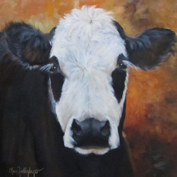 Oil Paintings by Cheri - Animal Wall Art, Cow Named Tess, Black and White Cow Painting - This original oil painting features a black and white cow named Tess.