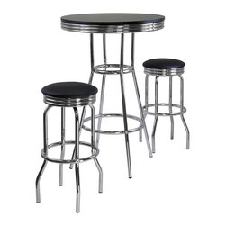 Winsome - Winsome Summit 3-Piece Round Pub Set in Black / Metal Finish - Winsome - Pub Sets - 93338 - Summit retro pub table has a polished metal frame and legs with black composite wood top