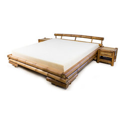 Matisse - Tong Bamboo Platform King-size Bed - Exhibit a unique touch of style to your bedroom with this exquisite bamboo platform king-size bed. Constructed with a durable and stable structure,this king-size bed will be a centerpiece in your bedroom for years to come.