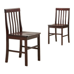 Walker Edison - Solid Wood Dining Chairs in Espresso - Set of 2 - Stylish contemporary design. Rich solid wood finish. Solid Asian hardwood construction. Ships Ready-To-Assemble with all necessary tools. Assembly instructions with online support and toll-free number available. Seat Height: 20 in.. Each Chair: 20 in. W x 18 in. D x 37 in. HThese luxurious solid wood dining chairs are perfect for any setting. The contemporary design combines with sturdy construction to provide an irresistible piece. Fancy styling accentuates the look.