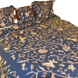 Crewel Fabric World - Crewel Bedding Tree of Life Neutrals on Royal Blue Cotton Duck Duvet - Inspiration : Tree of life is inspired by the mystical concept alluding to the interconnectedness of all life on our planet.