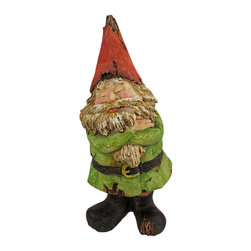 Zeckos - NOT LISTENING Wooden Look Laughing Garden Gnome Statue - This adorable, green tunic wearing garden gnome statue looks like it was carved from driftwood. Measuring 9 3/4 inches tall, 4 inches long and 5 1/4 inches deep, this adorable gnome obviously doesn`t want to hear any complaints. He has his arms folded and eyes closed. He looks best when positioned with his back to the action. Exposed `wood` on his body and clothing give the gnome a chic aged look. This statue looks great in gardens and flower beds, and makes a great gift.