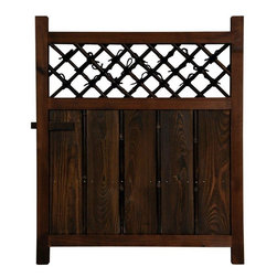 Oriental Furniture - Wooden Fence Door - This is a classic design small size Japanese garden gate. Beautifully crafted from solid kiln dried Spruce, finished in a rich dark wood stain, with hardy Japanese style joinery. Increasingly, gardeners are selecting an area of the yard to fence in and cultivate with either decorative bushes and trees or food plants. This Japanese design wood and bamboo gates are a great way to finish the job with a distinctive, Asian style entry.