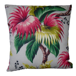 "Mid Century Home USA - Midcentury Floral/Tropical Barkcloth Pillow Cover - ""Passion Flower"" - This pillow was freshly made using a very unique heavy and nubby barkcloth from the 40's called ""Passion Flower"".  Colors are vibrant with pink to maroon, light to dark greens, touches of brown and yellow/gold all set on an off white background.  The back of the pillow is finished in a coordinating kelly green duck cloth canvas which helps the pillow hold its shape.   The seams are professionally serged to prevent fraying.  The pillow insert is not included.  The pillow is 19"" X 19"", use a ""20"" insert to ensure a very plump pillow.   Limited quanity, only 3available."