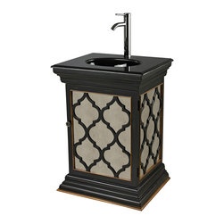 Sterling Lighting - Sterling Lighting Mariposa Mirrored Vanity Unit With Moorish Pattern - This Moroccan inspired Mirrored Single Vanity by Sterling is modernized with its antiqued mirrored panel beneath the Moorish motif cut-outs on the door front and sides. The black matte finish is accented with a touch of gold trim plus a black marble counter with black porcelain basin and chrome single handle modern faucet. This vanity unit will provide an exotic and romantic touch to your bathroom. Vanity measures 26 inches wide x 21 inches deep x 36 inches high.