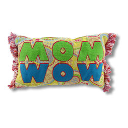 Manual - Yellow Paisley Woven Tapestry Mom/Wow Accent Pillow - It's no surprise that the mirror image of the word 'Mom' is 'Wow,' make your Mom's day with this thoughtful little gift. This woven tapestry accent pillow features a fun paisley design with fringed edges and adds a cheerful accent to any room. It measures 12 1/2 inches long, and 8 1/2 inches high. The front is made of a cotton/polyester blend, the backing is cotton, and the soft stuffing is polyester. Recommended care instructions are to spot clean, only. Made in the U.S.A.