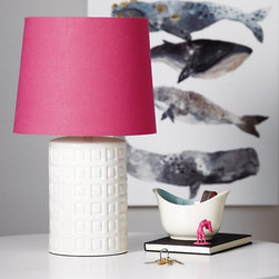 Squares to Spare Lamp Base - The textured base of this lamp is a great pair for the bold pink lampshade.