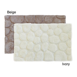 Sherry Kline - Sherry Kline Stone Embossed Cotton 21 x 32 Bath Rug (Set of 2) - Upgrade your bathroom with these cotton bath rugs from Sherry Kline. These stone-embossed rugs feature luxurious plush pile and a distinctive rock pattern. Constructed from 100 percent cotton, these reversible rugs are also machine washable.