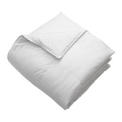 None - Oversized 650 Fill Power American White Down Comforter - You'll feel like you are in a five-star hotel when you lay down to sleep with this luxurious down comforter. it has a soft 300 thread-count cover for added softness,and it has a baffle-box construction to prevent the feathers from moving to one side.