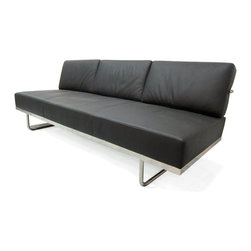 "IFN Modern - Le Corbusier LC5 Style Sofa Bed - Created in 1934 by one of the most well-known Swiss-French architects Le Corbusier (Charles-Edouard Jeanneret-Gris), the LC line is Le Corbusier's successful effort at fusion of urban style with the industrial steel age as a breakthrough to modernism. The LC 5 sofa is a unique combination of a sofa and a bed. Functioning as a sofa in normal configuration, the LC 5 sofa can increase its couch width for a comfortable ""bed†lay by flipping the cushions to the back on its well-crafted solid stainless steel mechanism.  Naturally, like the signature look of the collection, the steel frame is externalized to showcase its sleek form factor with buttery soft cushions to comfort the delicate body.  As a specialized manufacturer of famous mid-modern designer furniture, the LC Line Reproduction by IFN Modern also reflects these qualities not only in terms of classy and elegant appearance but also in utmost care in details such using premium construction material in 100% full grain leather and solid stainless steel.  This collection features:1.Sofa-bed combination: Turn the wide and classy sofa into a bed by flipping the cushions from the front to the back on a well-crafted solid stainless steel hinge2.Soft, puffy cushions to gently hold the body for a comfortable and relaxing session in all positions.3.Signature look of externalized steel frame 4.Back to front to bottom, side to side fully upholstered in full grain Italian/Aniline leather (all parts even invisible spots like the underside!) 5.Hassle-free  maintenance from easily detachable cushions from frame 6.Simple yet functionally elegant piece to dazzle any living space•Product is upholstered in 100% Full Grain Italian Leather, 100% Full Grain Aniline Leather or Fabric  •Variety of colors available•Long lasting durability and strength with high grade solid stainless polished steel frame resistant to chipping/rusting.•Silky smooth corners from detailed welding, grinding and sanding•Balanced stability on all surfaces with adjustable floor-leveling footcaps•Plush cushions that stay in shape for short-long sessions comfort with high density injected foam.  •Strong flexible bottom support from 2†flat nylon bands weaved in criss-cross fashion to support up to 1,850 pounds."
